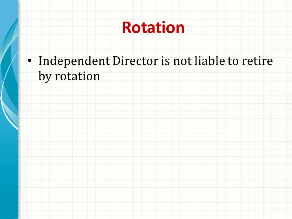 Rotation Independent Director is not liable to retire by rotation
