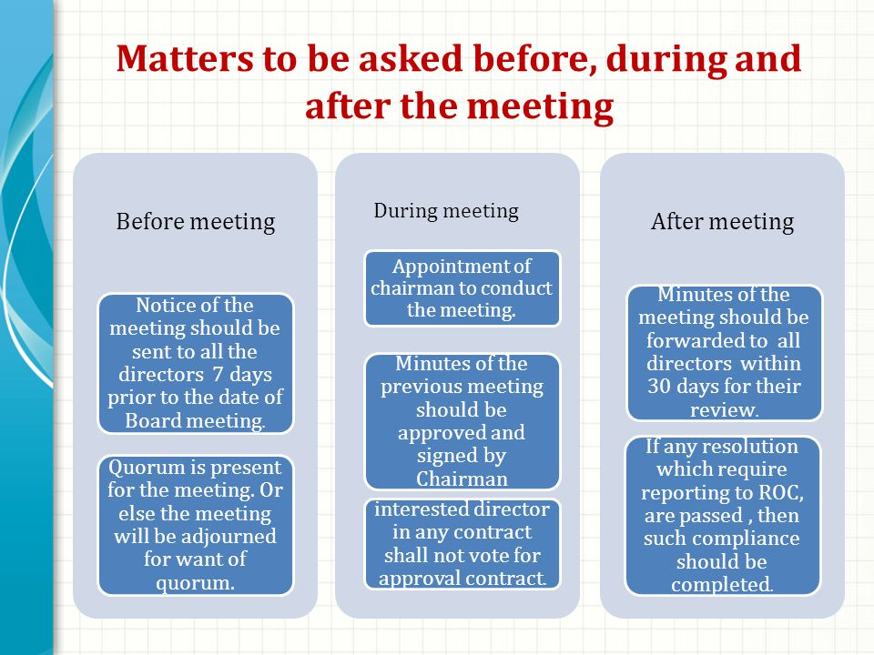 Matters to be asked before, during and after the meeting Before meeting Notice of the meeting should be sent to all the directors 7 days prior to the date of Board meeting.