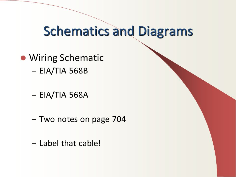 3 schematics and diagrams wiring schematic – eia/tia 568b – eia/tia 568a –  two notes on page 704 – label that cable!