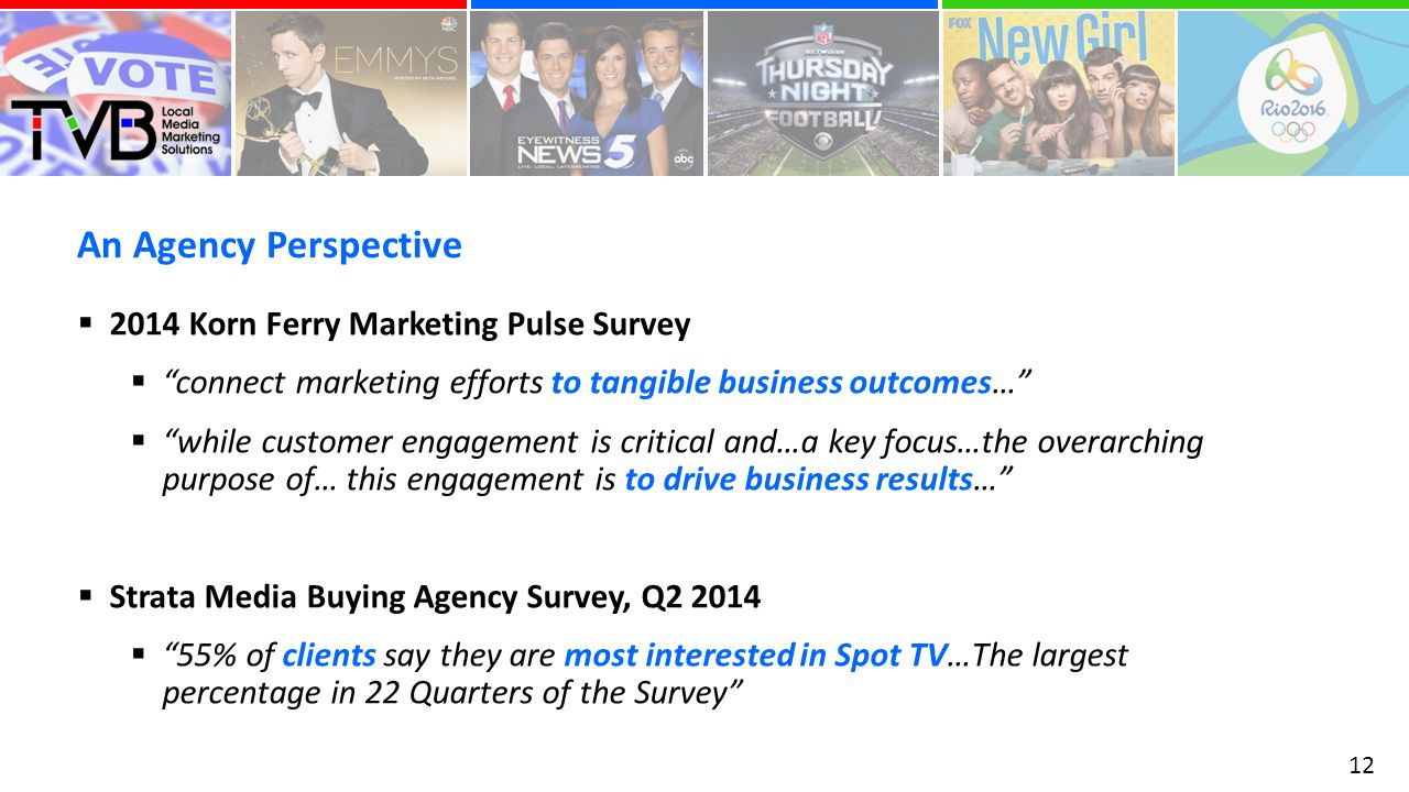 An Agency Perspective 12  2014 Korn Ferry Marketing Pulse Survey  connect marketing efforts to tangible business outcomes…  while customer engagement is critical and…a key focus…the overarching purpose of… this engagement is to drive business results…  Strata Media Buying Agency Survey, Q  55% of clients say they are most interested in Spot TV…The largest percentage in 22 Quarters of the Survey