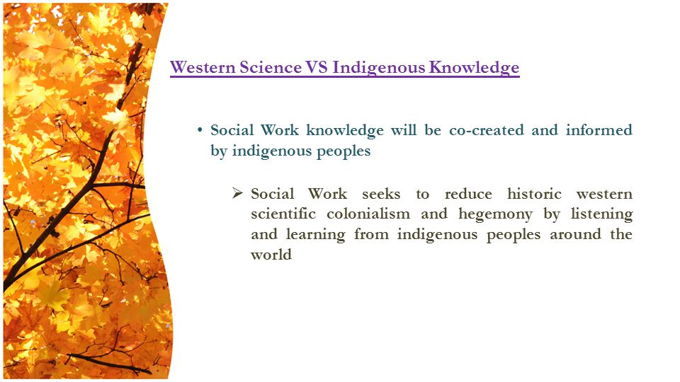 Social Work knowledge will be co-created and informed by indigenous peoples  Social Work seeks to reduce historic western scientific colonialism and hegemony by listening and learning from indigenous peoples around the world Western Science VS Indigenous Knowledge