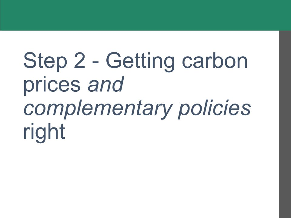 Step 2 - Getting carbon prices and complementary policies right