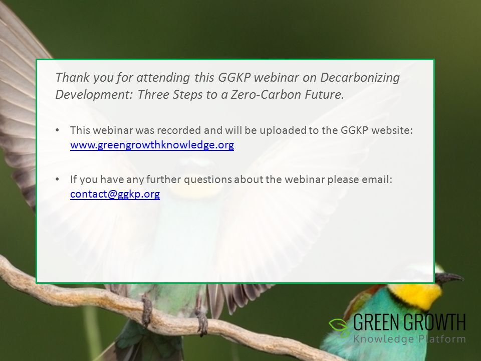 Thank you for attending this GGKP webinar on Decarbonizing Development: Three Steps to a Zero-Carbon Future.