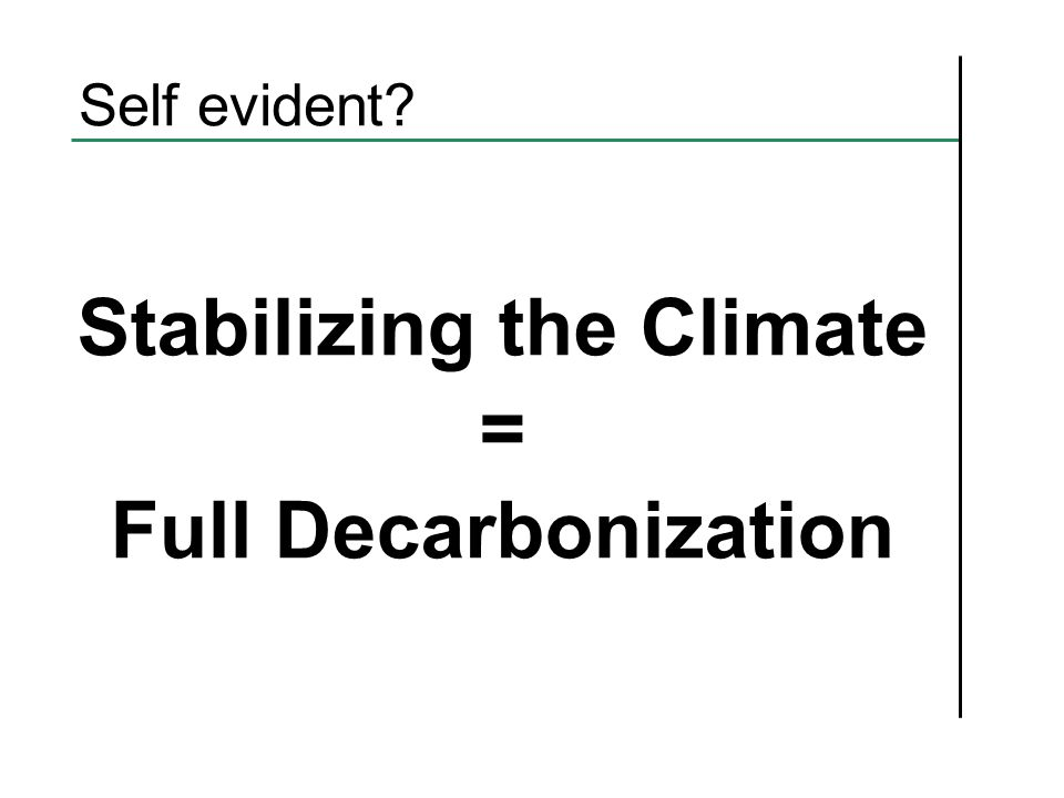 Self evident Stabilizing the Climate = Full Decarbonization
