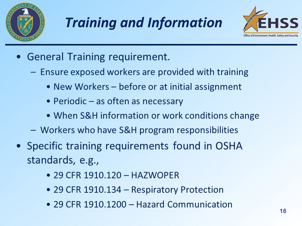 16 Training and Information General Training requirement.
