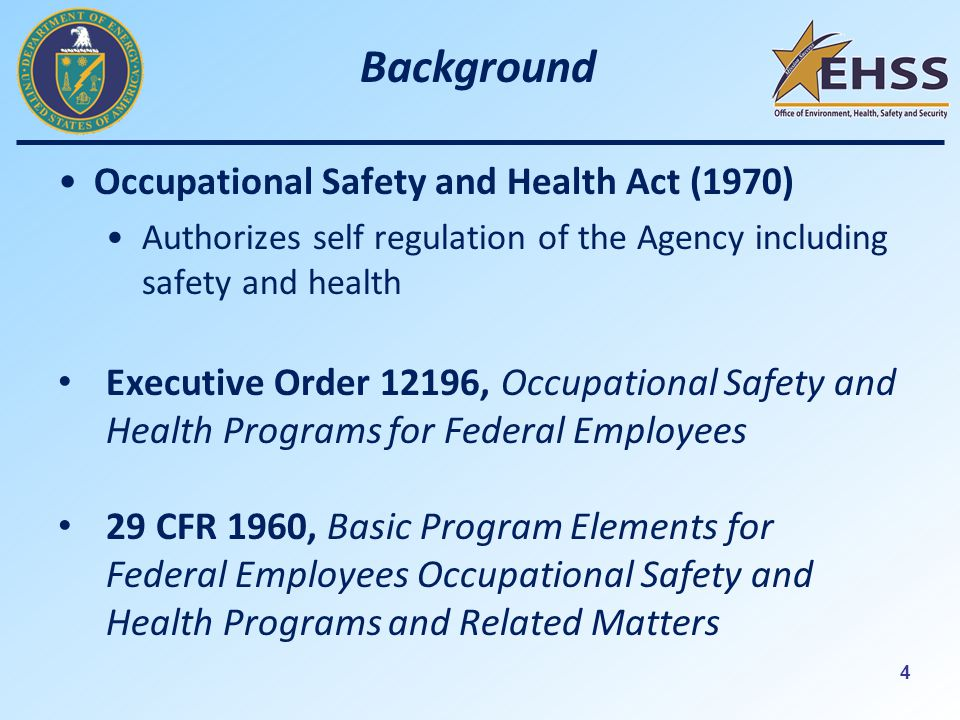 4 Background Occupational Safety and Health Act (1970) Authorizes self regulation of the Agency including safety and health Executive Order 12196, Occupational Safety and Health Programs for Federal Employees 29 CFR 1960, Basic Program Elements for Federal Employees Occupational Safety and Health Programs and Related Matters