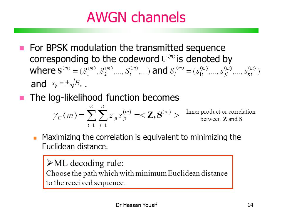 Dr Hassan Yousif14 AWGN channels For BPSK modulation the transmitted sequence corresponding to the codeword is denoted by where and and.