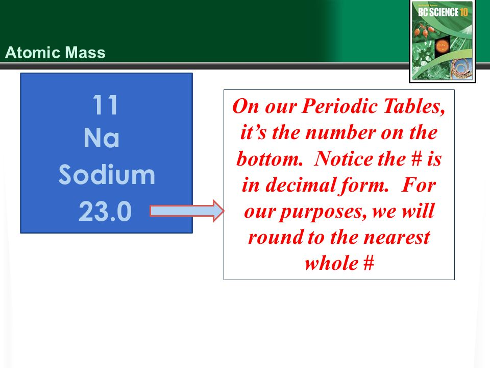 11 Na Sodium 23.0 On our Periodic Tables, it's the number on the bottom.