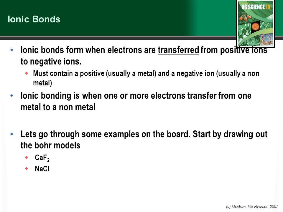Ionic Bonds Ionic bonds form when electrons are transferred from positive ions to negative ions.