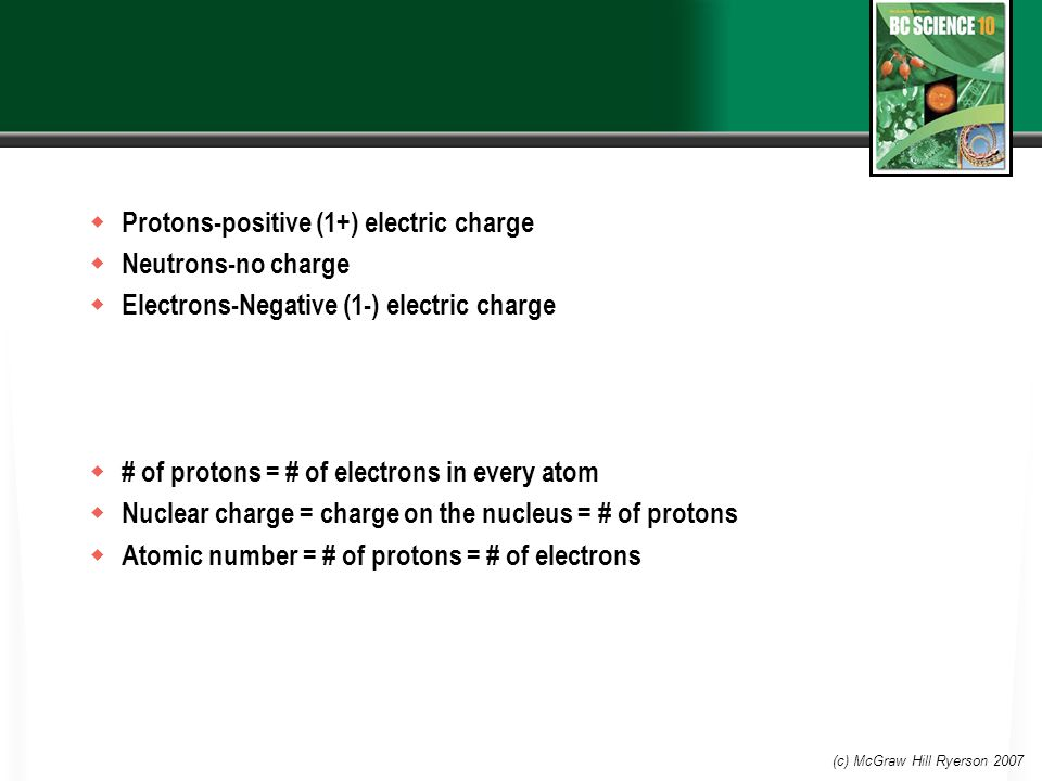  Protons-positive (1+) electric charge  Neutrons-no charge  Electrons-Negative (1-) electric charge  # of protons = # of electrons in every atom  Nuclear charge = charge on the nucleus = # of protons  Atomic number = # of protons = # of electrons (c) McGraw Hill Ryerson 2007