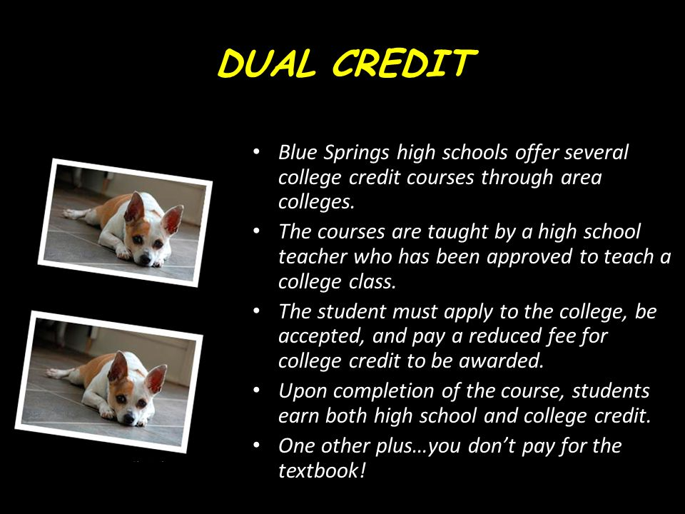 DUAL CREDIT Blue Springs high schools offer several college credit courses through area colleges.
