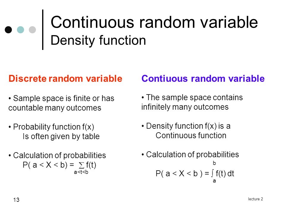 lecture 2 13 Continuous random variable Density function Contiuous random variable The sample space contains infinitely many outcomes Density function f(x) is a Continuous function Calculation of probabilities P( a < X < b ) =  f(t) dt Discrete random variable Sample space is finite or has countable many outcomes Probability function f(x) Is often given by table Calculation of probabilities P( a < X < b) =  f(t) a<t<b baba
