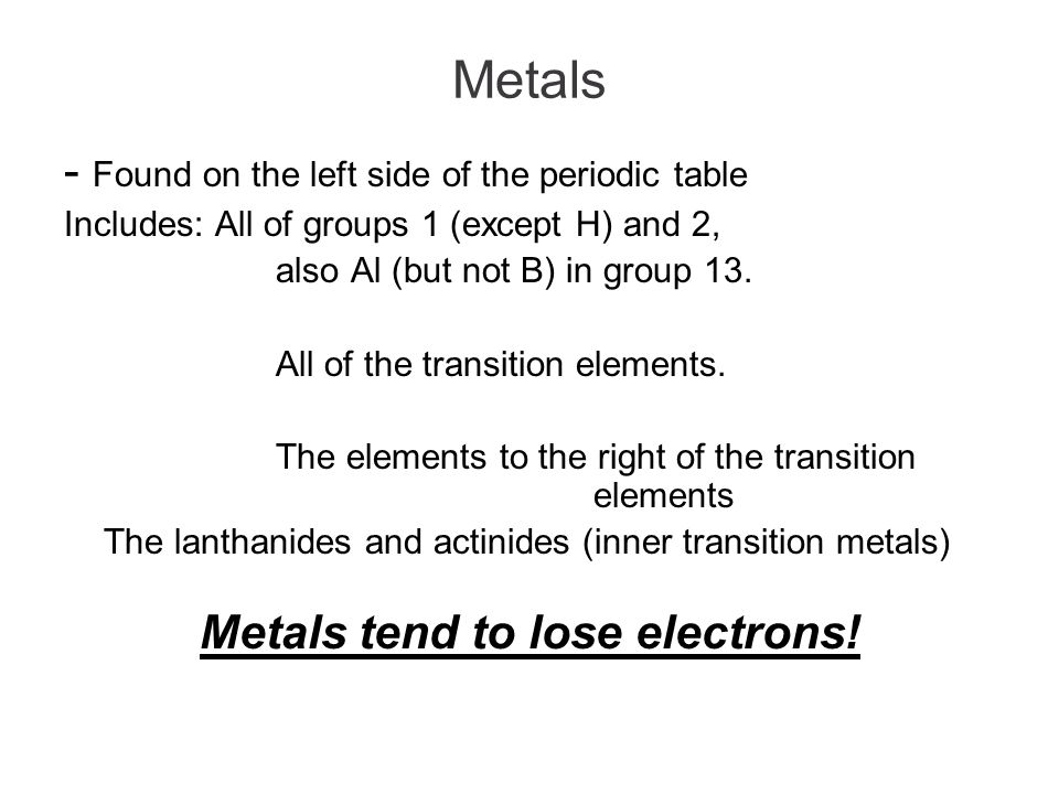 Metals Found On The Left Side Of The Periodic Table Includes All