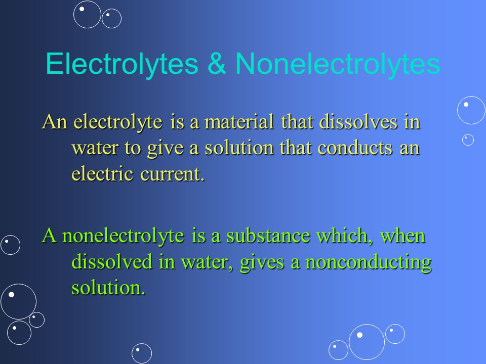 Electrolytes & Nonelectrolytes An electrolyte is a material that dissolves in water to give a solution that conducts an electric current.