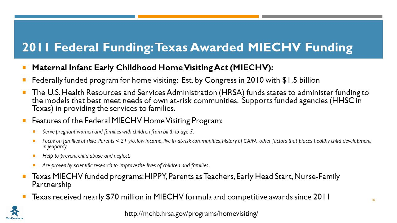 2011 Federal Funding: Texas Awarded MIECHV Funding  Maternal Infant Early Childhood Home Visiting Act (MIECHV):  Federally funded program for home visiting: Est.