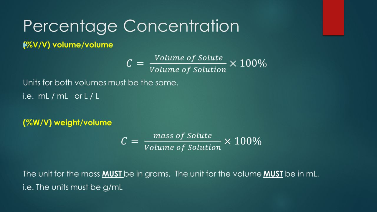Percentage Concentration 