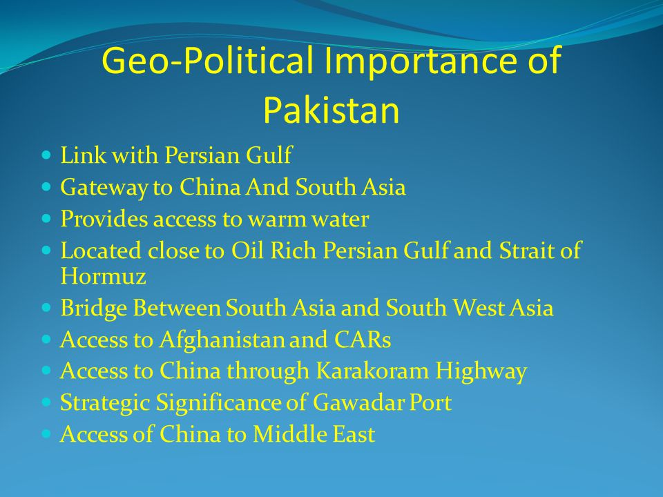 geopolitical and geostrategic importance of pakistan