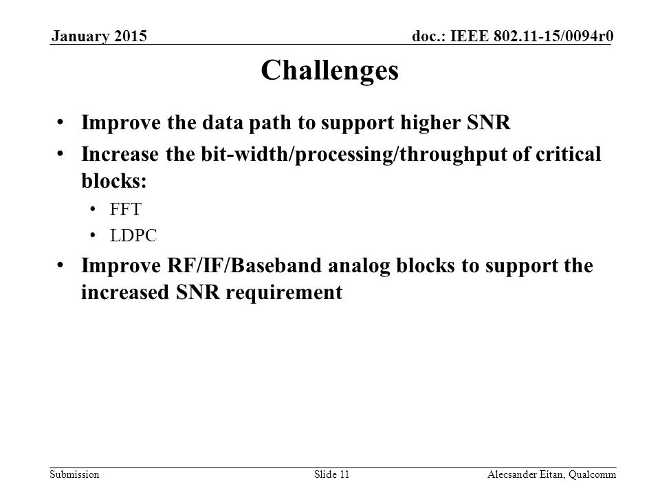 Submission doc.: IEEE /0094r0January 2015 Alecsander Eitan, QualcommSlide 11 Challenges Improve the data path to support higher SNR Increase the bit-width/processing/throughput of critical blocks: FFT LDPC Improve RF/IF/Baseband analog blocks to support the increased SNR requirement