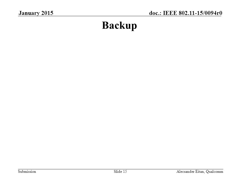 Submission doc.: IEEE /0094r0January 2015 Alecsander Eitan, QualcommSlide 15 Backup