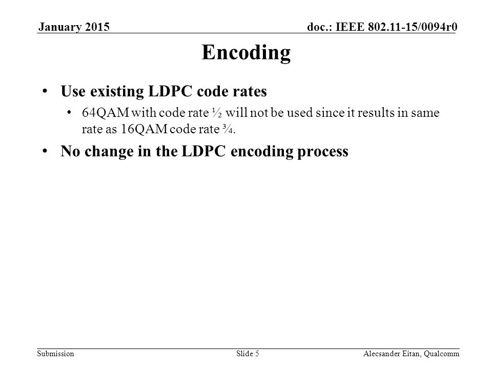 Submission doc.: IEEE /0094r0January 2015 Alecsander Eitan, QualcommSlide 5 Encoding Use existing LDPC code rates 64QAM with code rate ½ will not be used since it results in same rate as 16QAM code rate ¾.
