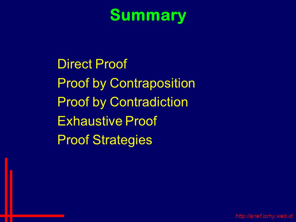 Summary Direct Proof Proof by Contraposition Proof by Contradiction Exhaustive Proof Proof Strategies
