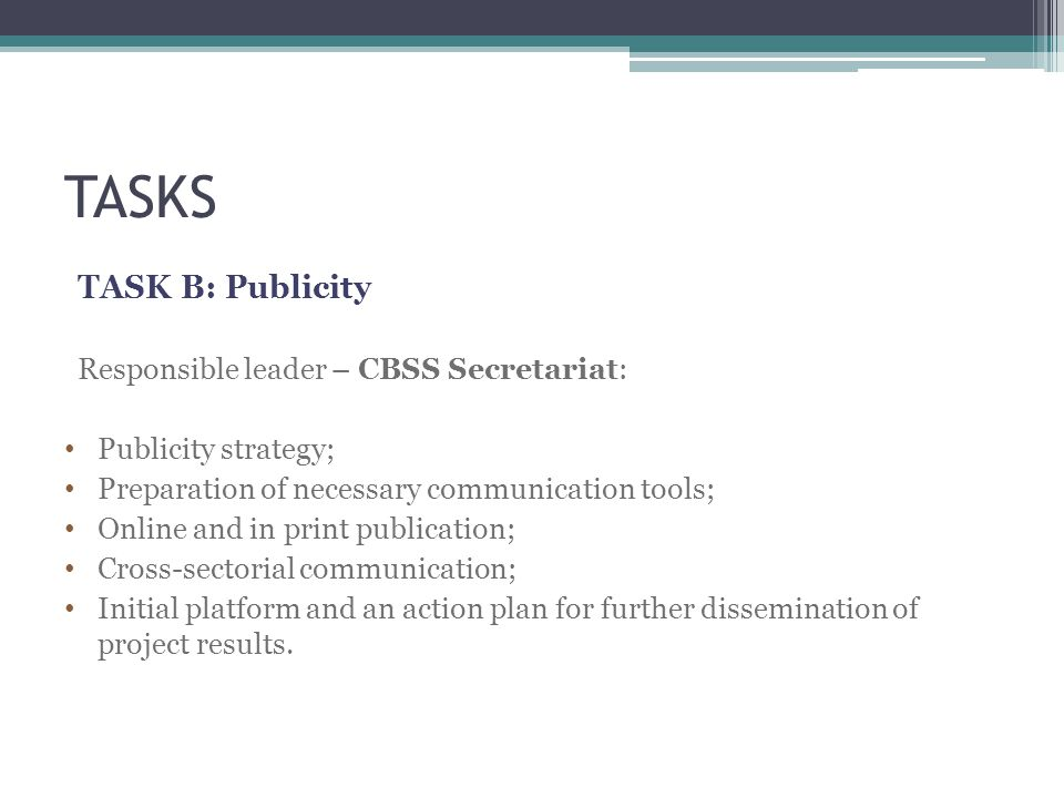 TASKS TASK B: Publicity Responsible leader – CBSS Secretariat: Publicity strategy; Preparation of necessary communication tools; Online and in print publication; Cross-sectorial communication; Initial platform and an action plan for further dissemination of project results.