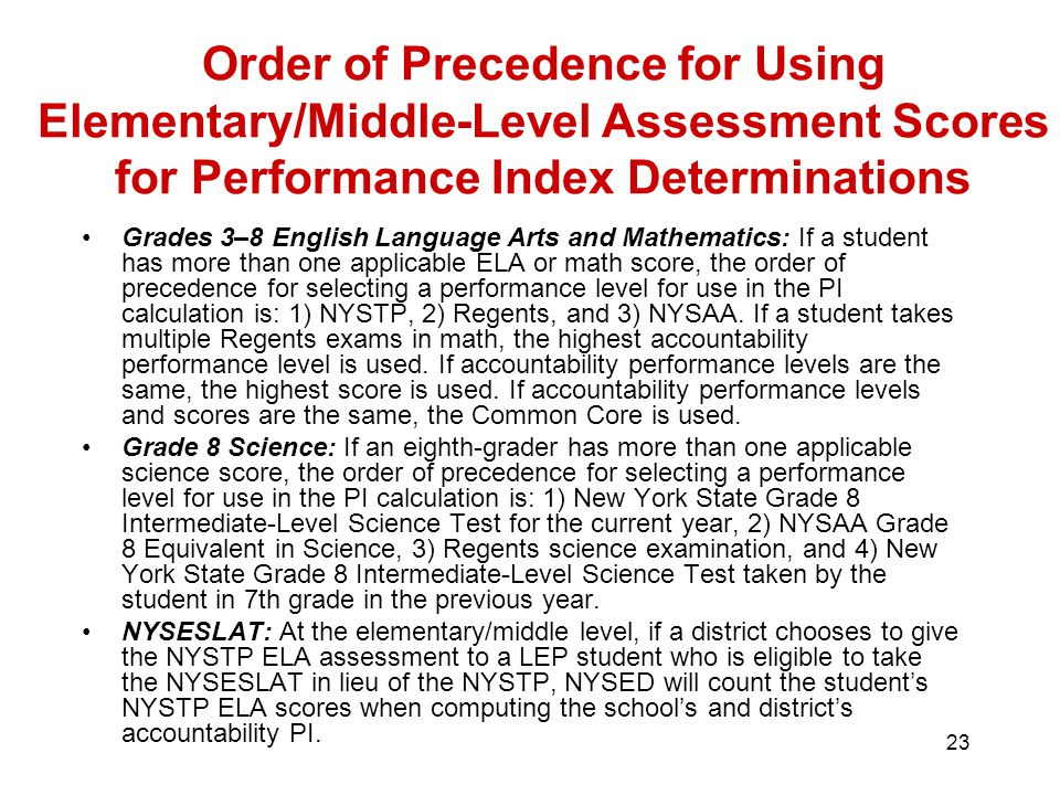 23 Order of Precedence for Using Elementary/Middle-Level Assessment Scores for Performance Index Determinations Grades 3–8 English Language Arts and Mathematics: If a student has more than one applicable ELA or math score, the order of precedence for selecting a performance level for use in the PI calculation is: 1) NYSTP, 2) Regents, and 3) NYSAA.