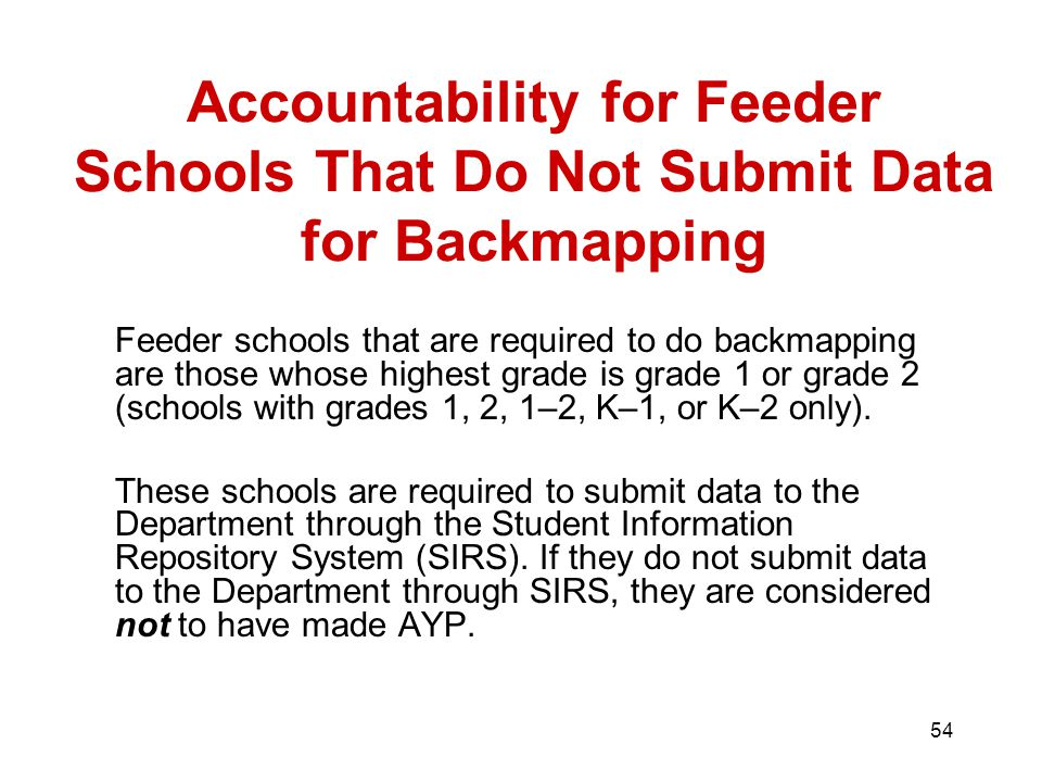 54 Feeder schools that are required to do backmapping are those whose highest grade is grade 1 or grade 2 (schools with grades 1, 2, 1–2, K–1, or K–2 only).