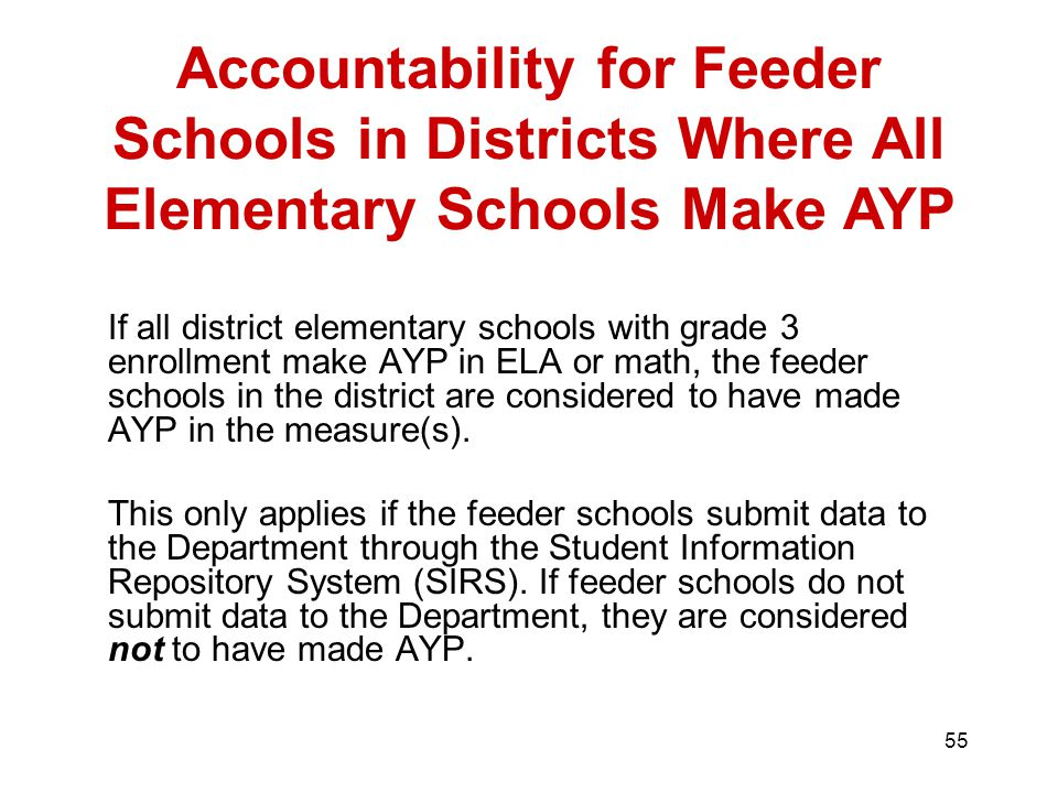 55 If all district elementary schools with grade 3 enrollment make AYP in ELA or math, the feeder schools in the district are considered to have made AYP in the measure(s).