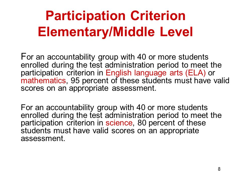8 Participation Criterion Elementary/Middle Level F or an accountability group with 40 or more students enrolled during the test administration period to meet the participation criterion in English language arts (ELA) or mathematics, 95 percent of these students must have valid scores on an appropriate assessment.