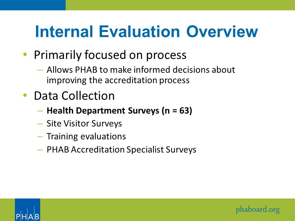 Internal Evaluation Overview Primarily focused on process – Allows PHAB to make informed decisions about improving the accreditation process Data Collection – Health Department Surveys (n = 63) – Site Visitor Surveys – Training evaluations – PHAB Accreditation Specialist Surveys