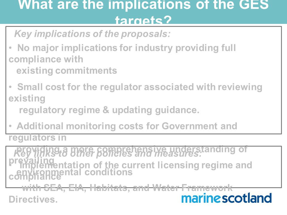 What are the implications of the GES targets.