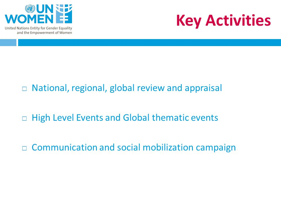 Key Activities  National, regional, global review and appraisal  High Level Events and Global thematic events  Communication and social mobilization campaign