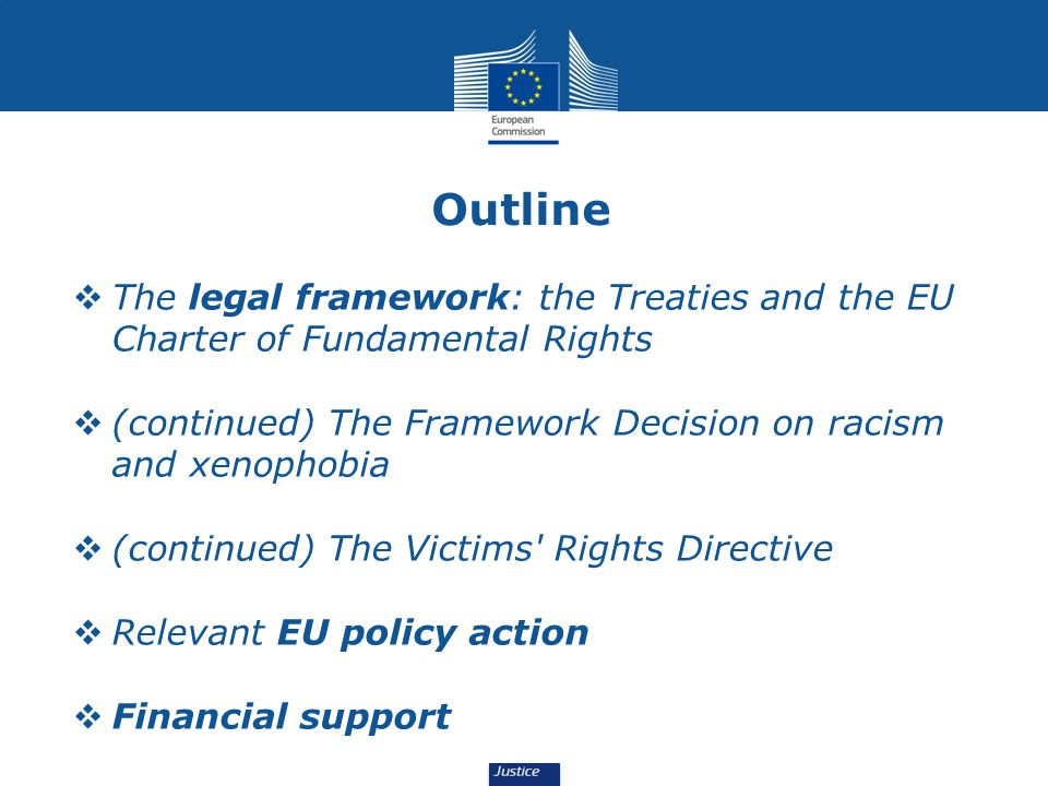 Outline  The legal framework: the Treaties and the EU Charter of Fundamental Rights  (continued) The Framework Decision on racism and xenophobia  (continued) The Victims Rights Directive  Relevant EU policy action  Financial support
