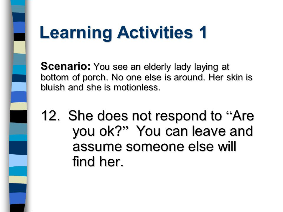 Learning Activities 1 Scenario: You see an elderly lady laying at bottom of porch.