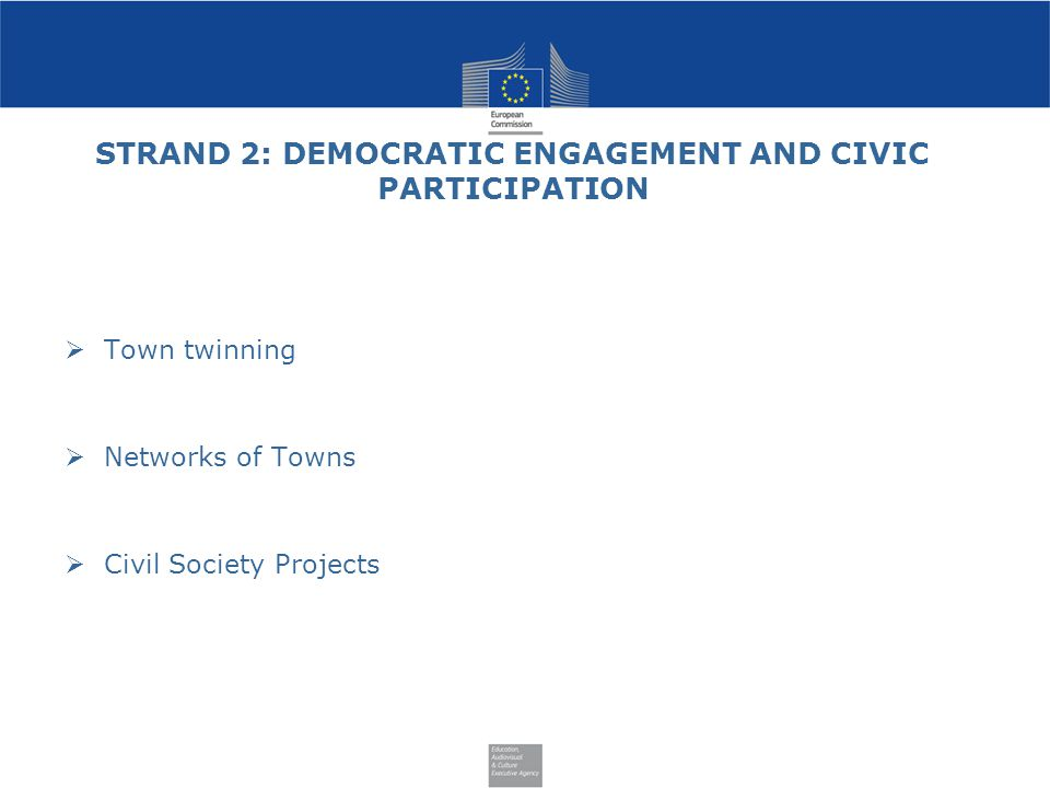 STRAND 2: DEMOCRATIC ENGAGEMENT AND CIVIC PARTICIPATION  Town twinning  Networks of Towns  Civil Society Projects
