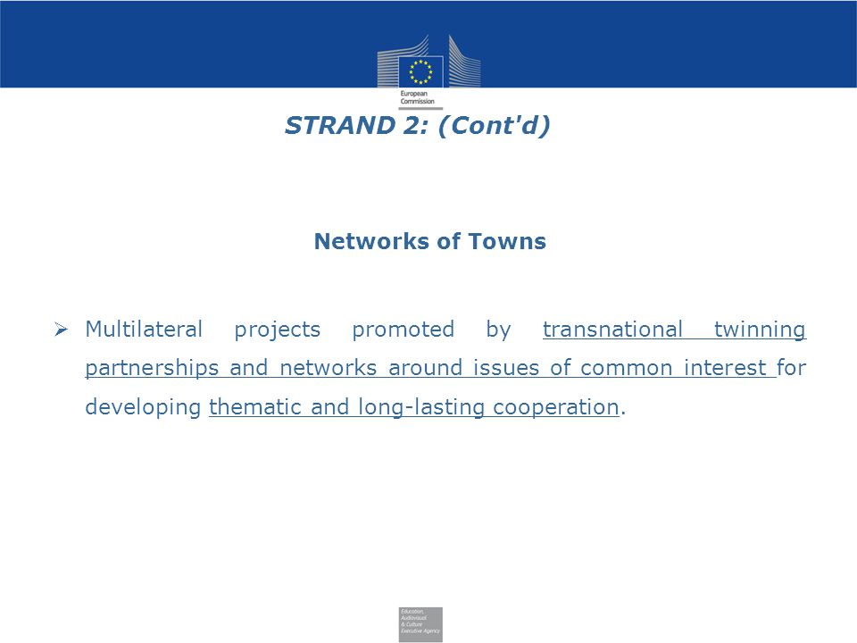 STRAND 2: (Cont d) Networks of Towns  Multilateral projects promoted by transnational twinning partnerships and networks around issues of common interest for developing thematic and long-lasting cooperation.