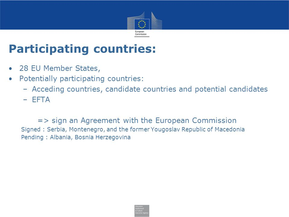 Participating countries: 28 EU Member States, Potentially participating countries: –Acceding countries, candidate countries and potential candidates –EFTA => sign an Agreement with the European Commission Signed : Serbia, Montenegro, and the former Yougoslav Republic of Macedonia Pending : Albania, Bosnia Herzegovina