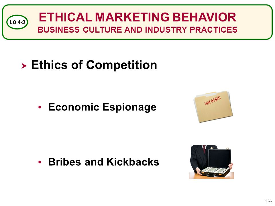 ETHICAL MARKETING BEHAVIOR BUSINESS CULTURE AND INDUSTRY PRACTICES LO 4-2  Ethics of Competition Economic Espionage Bribes and Kickbacks 4-11
