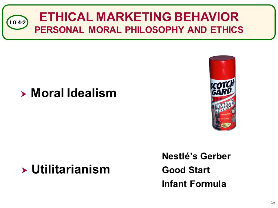 ETHICAL MARKETING BEHAVIOR PERSONAL MORAL PHILOSOPHY AND ETHICS LO 4-2  Moral Idealism  Utilitarianism Nestlé's Gerber Good Start Infant Formula 4-16