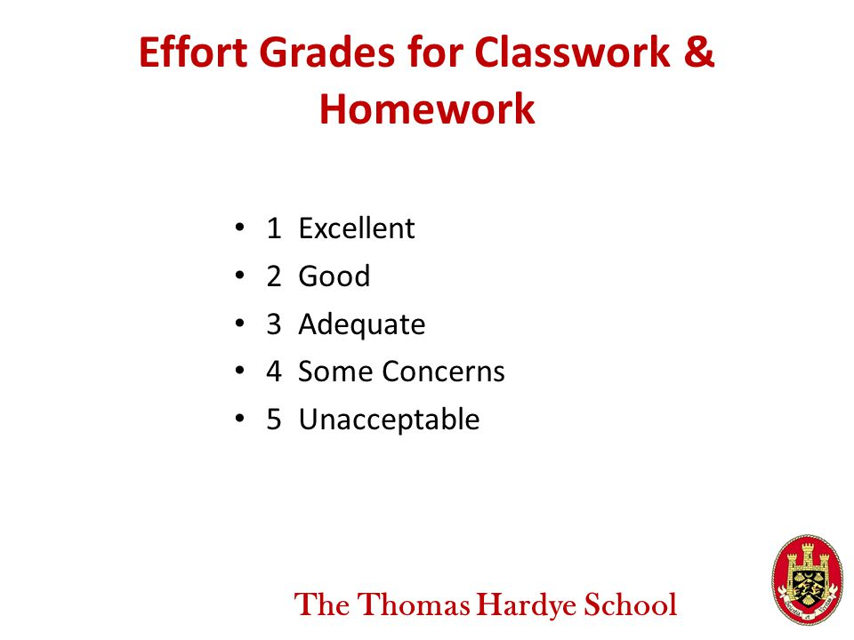 Effort Grades for Classwork & Homework 1 Excellent 2 Good 3 Adequate 4 Some Concerns 5 Unacceptable The Thomas Hardye School