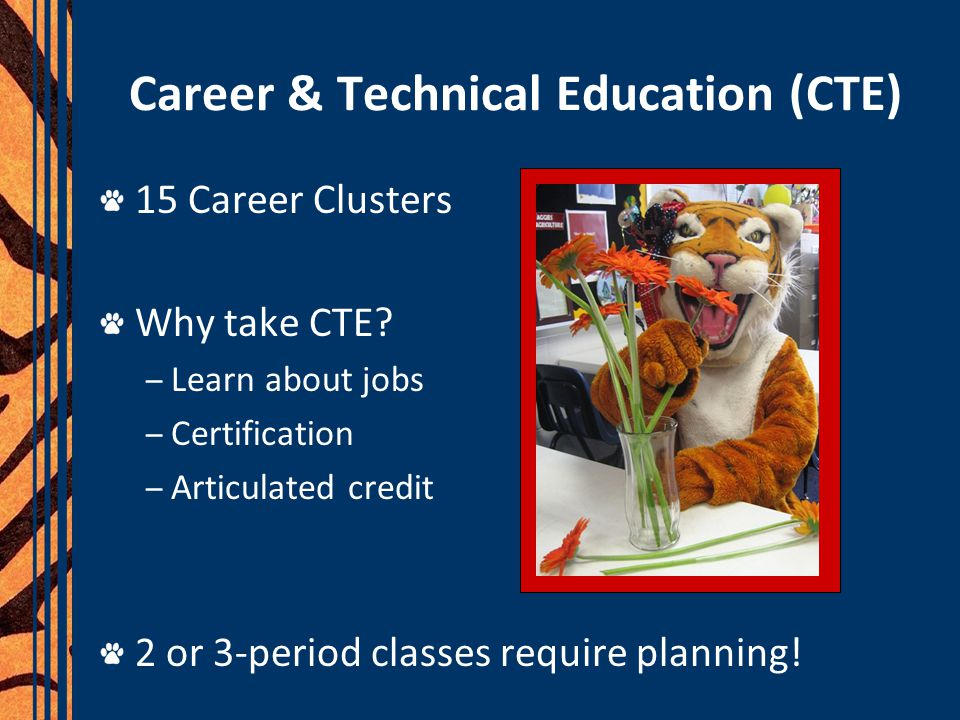 Career & Technical Education (CTE) 15 Career Clusters Why take CTE.