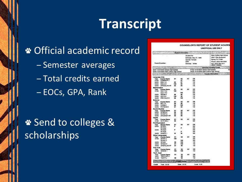 Transcript Official academic record – Semester averages – Total credits earned – EOCs, GPA, Rank Send to colleges & scholarships