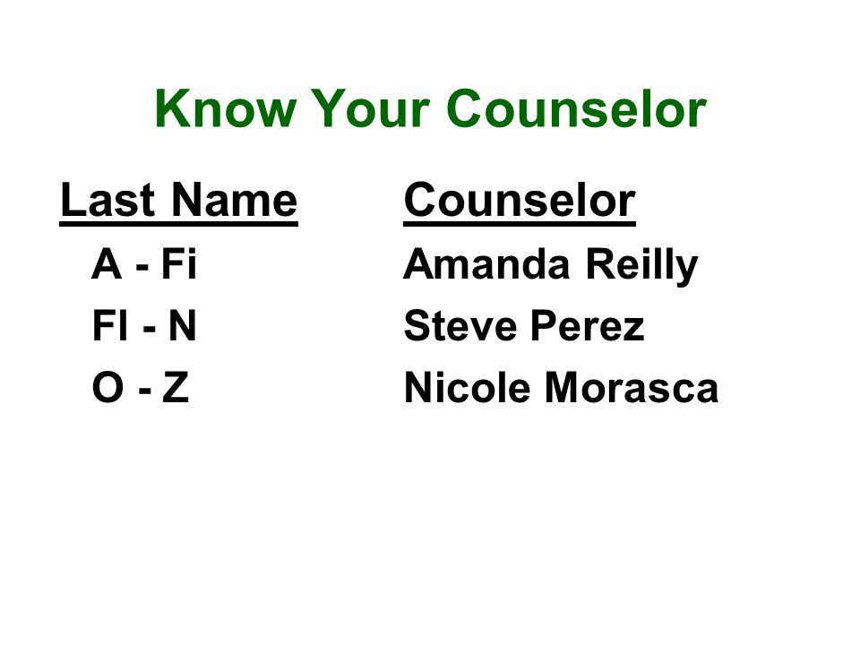 Know Your Counselor Last NameCounselor A - FiAmanda Reilly Fl - NSteve Perez O - ZNicole Morasca