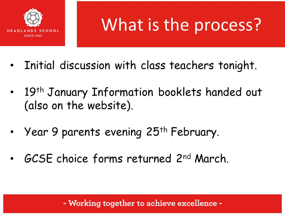 What is the process. Initial discussion with class teachers tonight.