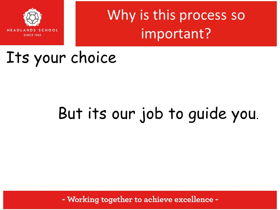 Why is this process so important Its your choice But its our job to guide you.