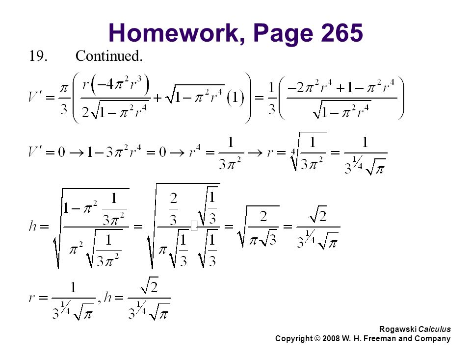 Homework, Page 265 Rogawski Calculus Copyright © 2008 W. H. Freeman and Company 19.Continued.