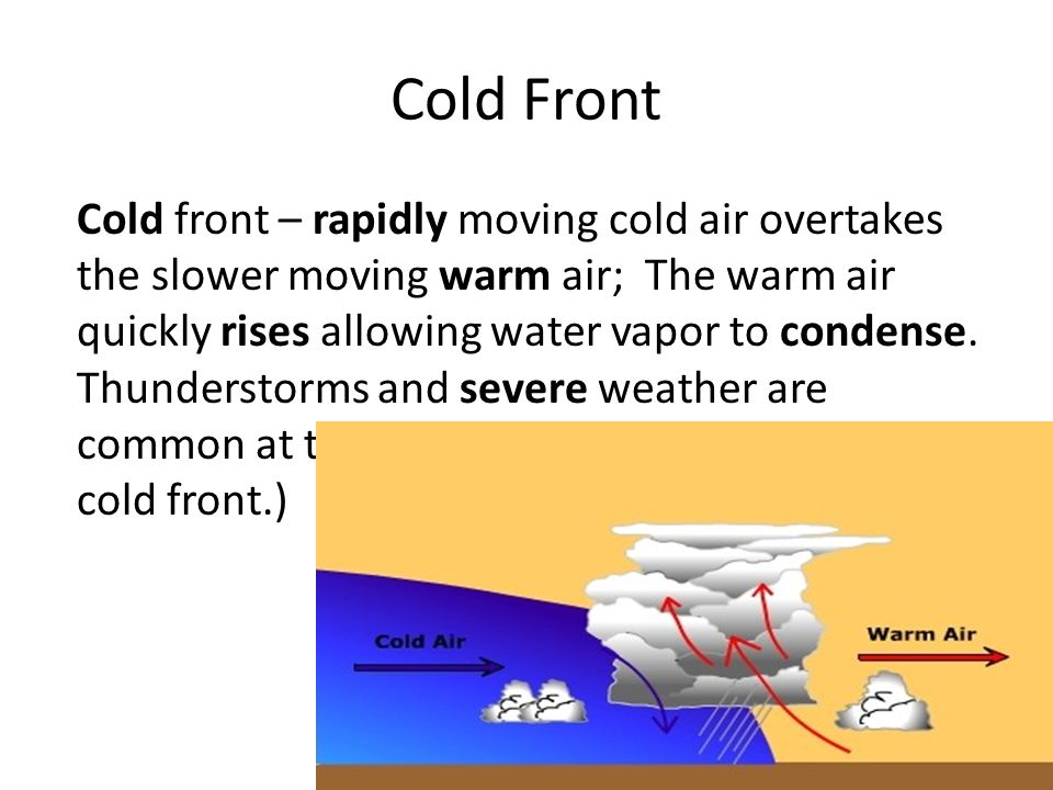 Cold front – rapidly moving cold air overtakes the slower moving warm air; The warm air quickly rises allowing water vapor to condense.