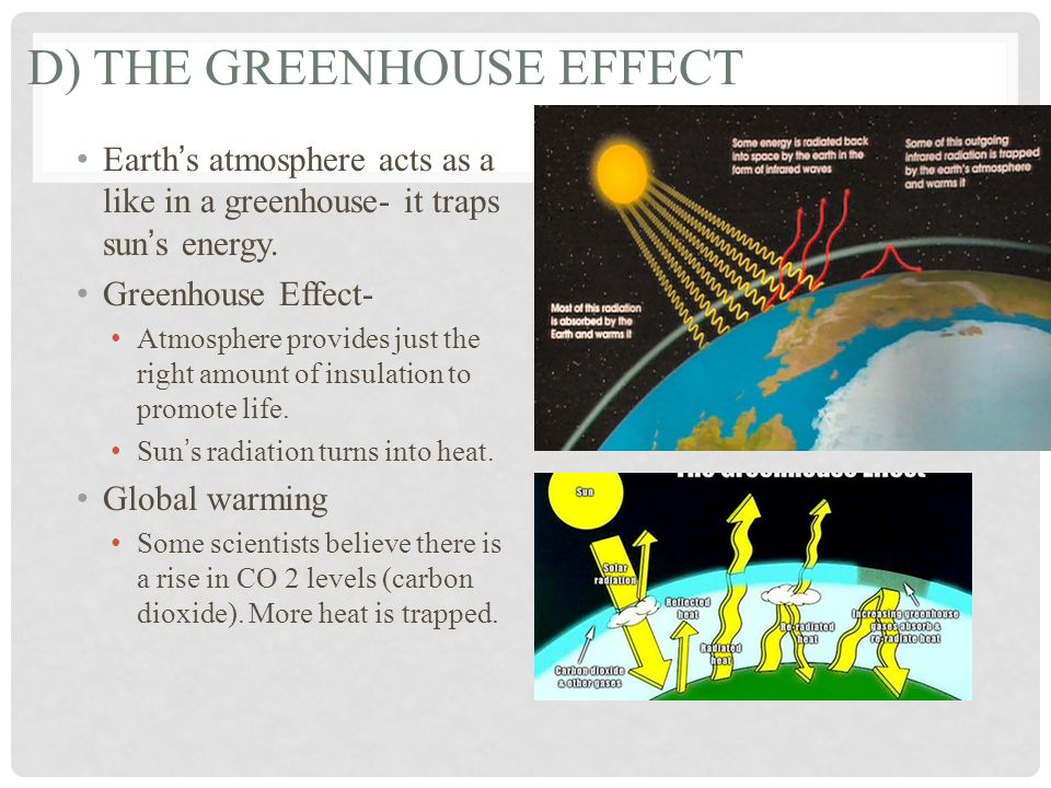 D) THE GREENHOUSE EFFECT Earth's atmosphere acts as a like in a greenhouse- it traps sun's energy.