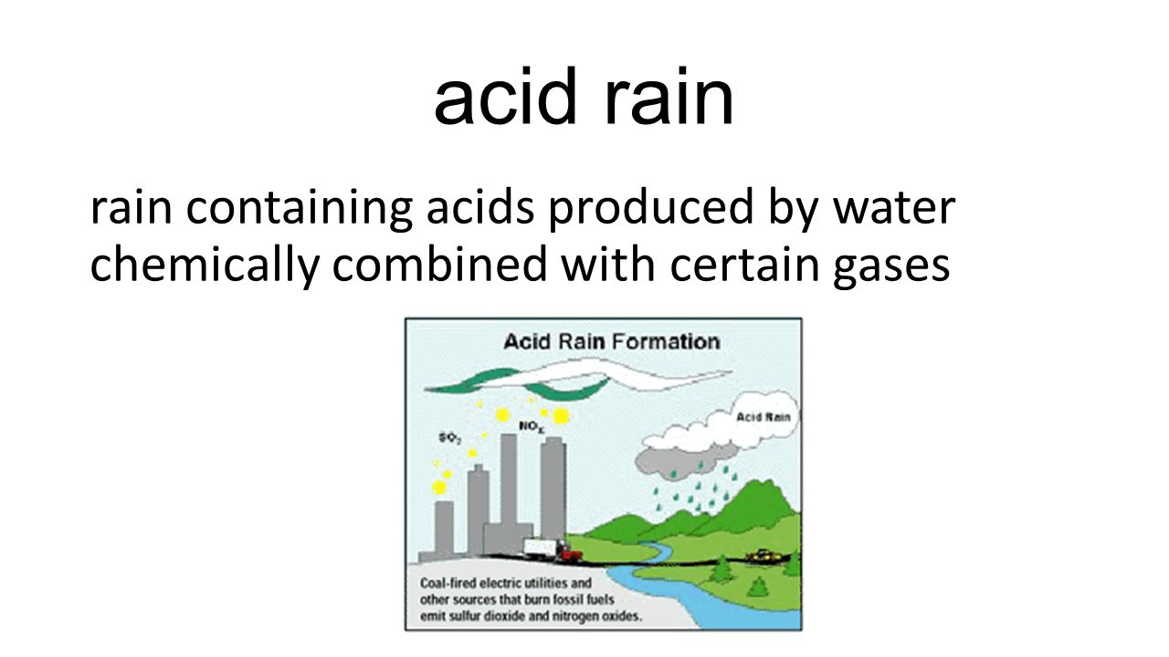 acid rain rain containing acids produced by water chemically combined with certain gases